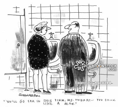 Women at male workplace cartoon