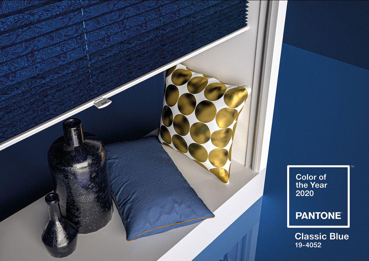 """Bild eines in """"Classic Blue"""" dekorierten Shopsystems"""