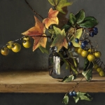 Still-life painting by Elizabeth Floyd of autumn leaves and berries in a glass jar