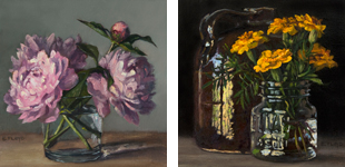 Floral still-life paintings for peonies and marigolds