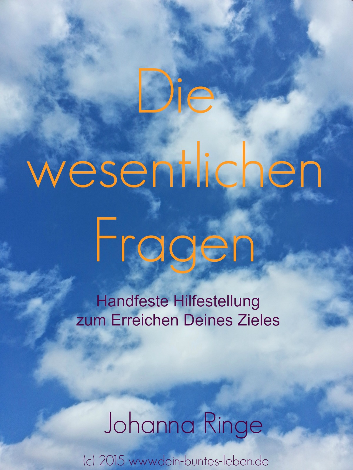 """Gratis E-Book """"Die wesentlichen Fragen - Handfeste Hilfestellung zum Erreichen Deines Zieles"""" von Johanna Ringe (c)2015"""