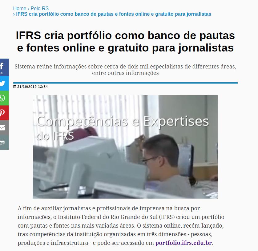 Print screen da matéria IFRS cria portfólio como banco de pautas e fontes online e gratuito para jornalistas, no site Coletiva.net