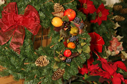 Christmas trees, wreaths and garland at Romence Gardens in Portage
