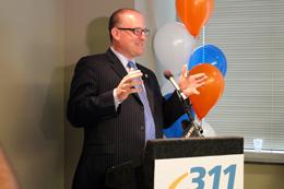 Photo of Mayor Dilkens at Podium