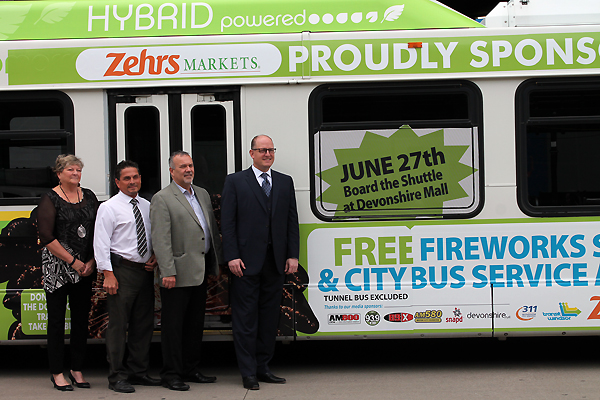 [Photo, left to right: Debbie Desjardins (Unemployed Help Centre), John Hindi (Zehrs), Pat Delmore (Transit Windsor) and Mayor Drew Dilkens]