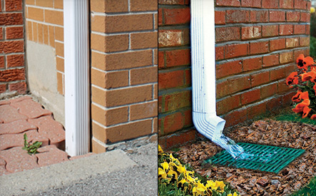 Image of a down spout disconnected