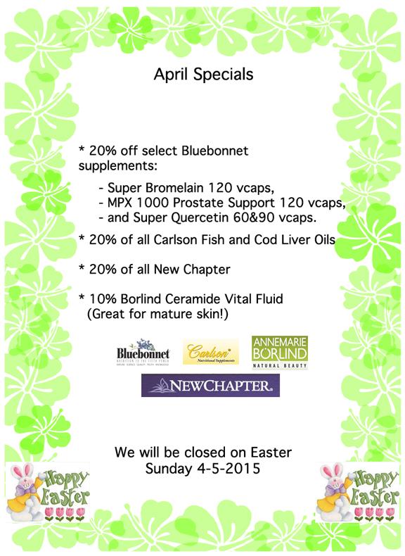 April 2015 Specials At For Goodness Sake Natural Foods