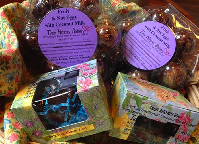 New! Delicious Spring Holiday Treats from Twin Hearts Bakery of Front Royal- Fruit & Nut Eggs, milk and gluten free!