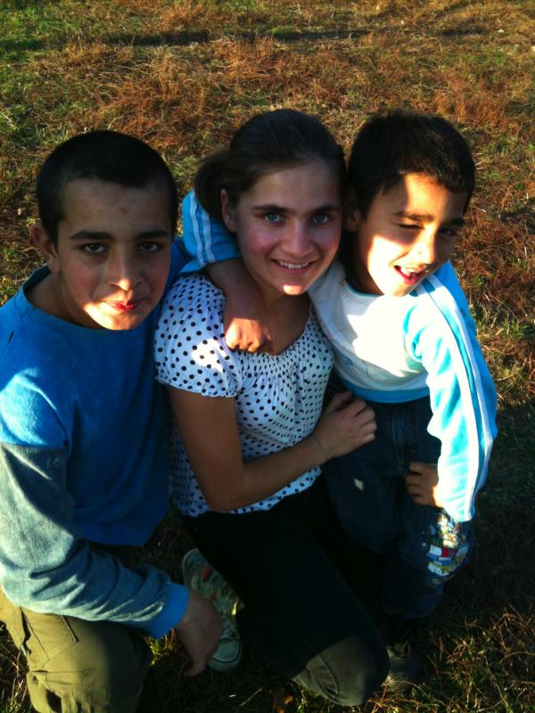 Maria and two boys from Teaca