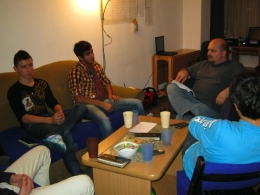 Dinu and the guys studying at an overnighter.