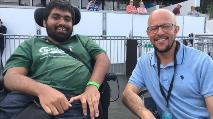 Physically disabled Jamil attends another music concert with his support worker