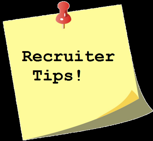 Post-it note with recruiter tips typed