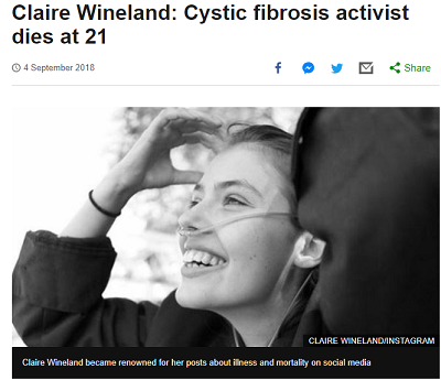 Claire Wineland Cystic Fibrosis Campaigner dies