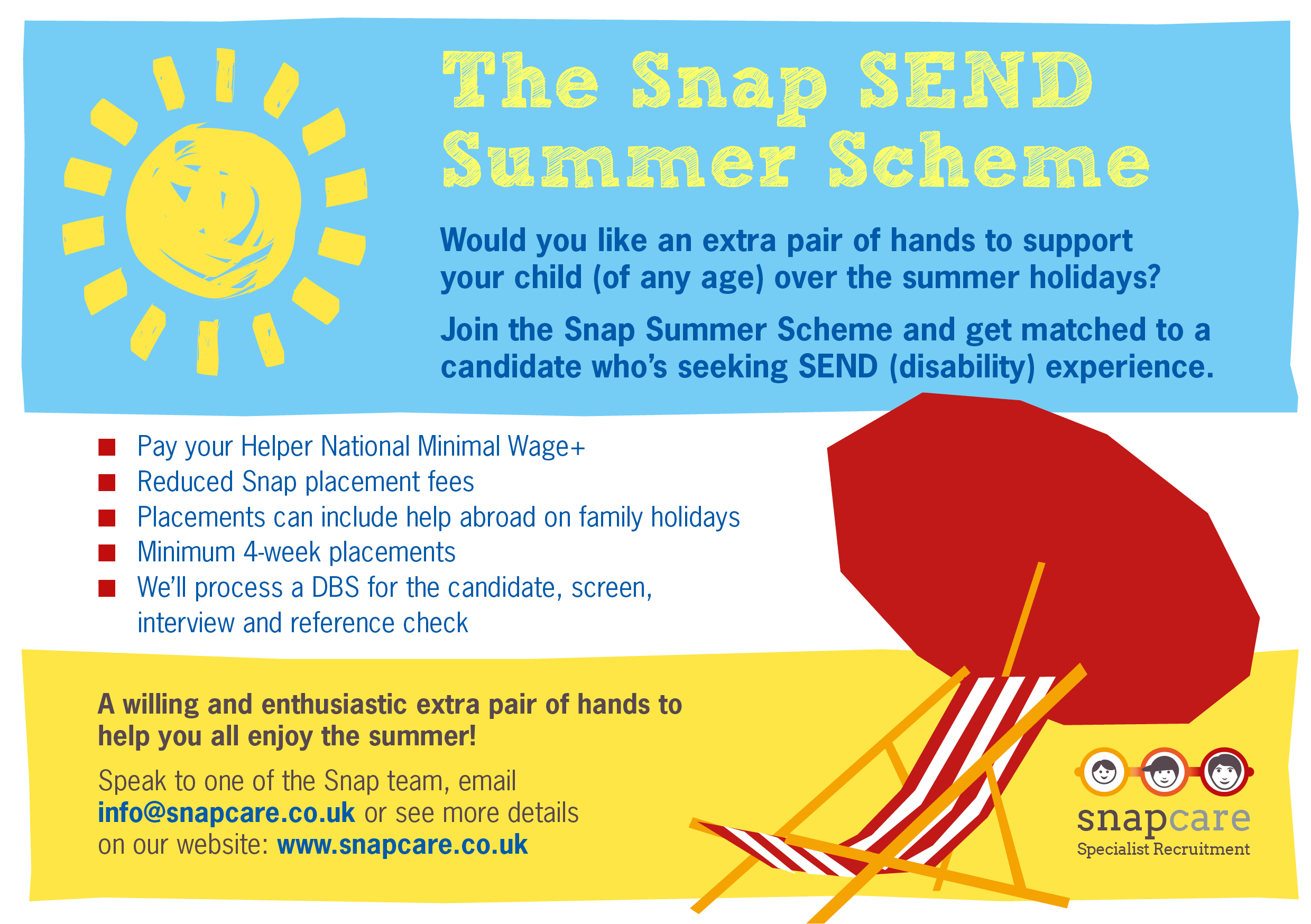 Snap care Summer Scheme Flyer