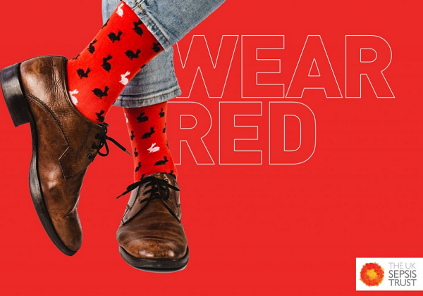 Wear Red for Sepsis UK Poster showing man with red socks
