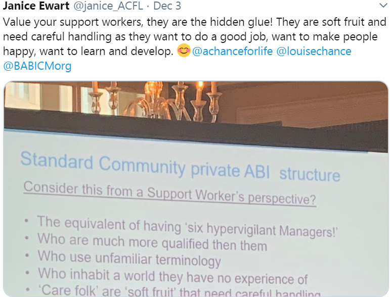 Tweet about valuing support workers