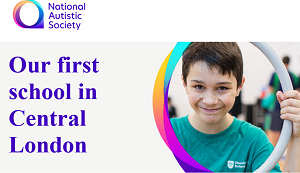 National Autistic Society advertising first central london school with smiling pupil