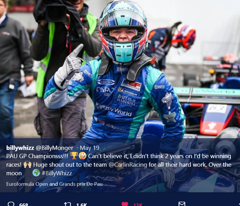 Billy Monger wins Pau Grand Prix