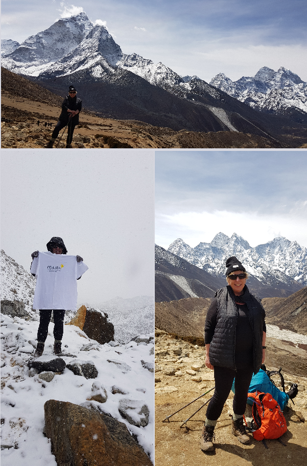 Montage of photos showing Christine Bunting's trek to Everest Base Camp