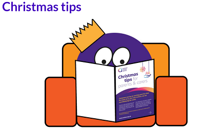 Cartoon character reading National Autistic Society's Christmas Tips