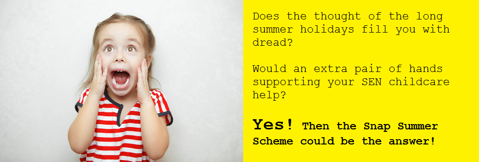 Comical worried child's face, text explaining how snap's summer scheme can help with SEN childcare