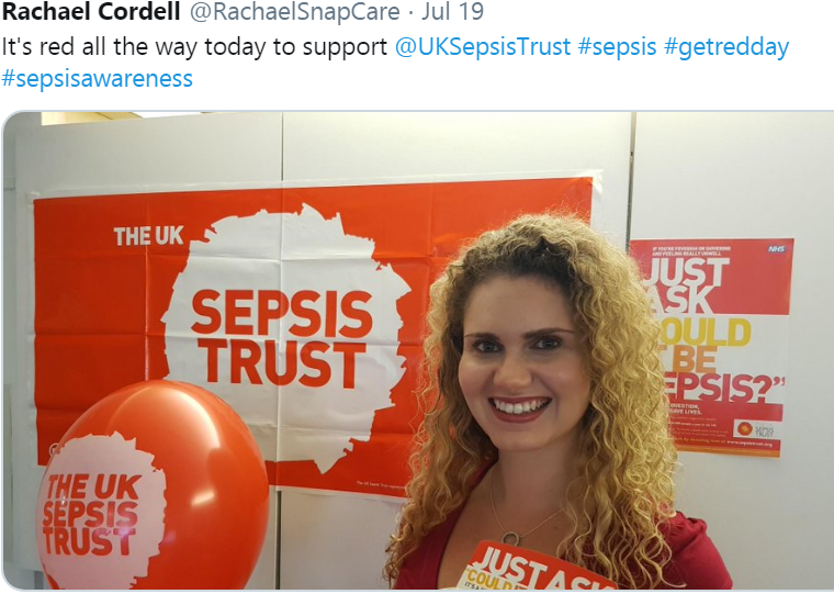 Rachael at Snap Wears Red to support Sepsis Awareness Day