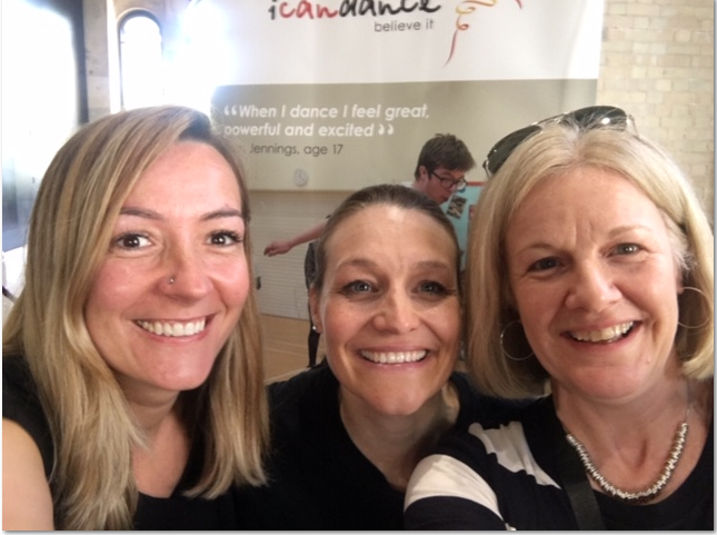 Kamila, Juliet and Sally at icandance inclusive performance