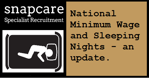 Sleepining icon and text: National Minimum Wage and Sleeping Nights, an update