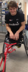 Nathan in his hew Bromakin racing wheelchair