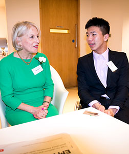 Upcoming CiaO Award Recipient Zien Zhou chatting with Daphne Barber