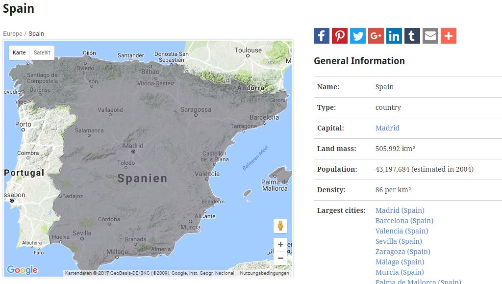 Spain in the geographical index of Structurae
