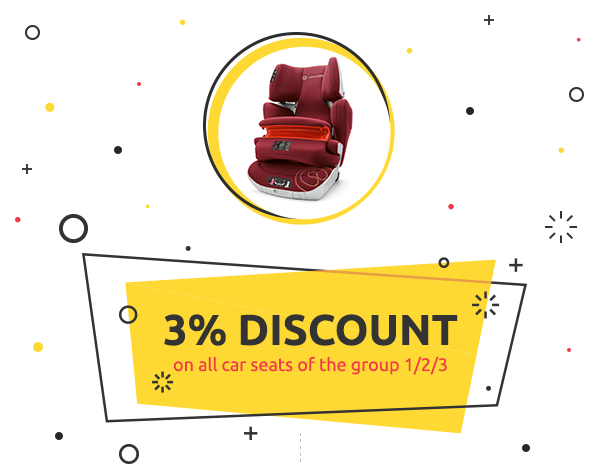 3% discount on all car seats of the group 1/2/3