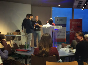 Image Dr Chris Wood collecting prize at Envirohack