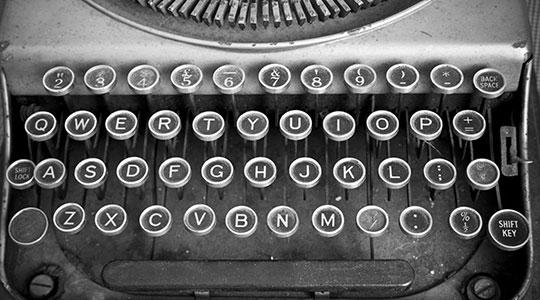 Toestenbord oude typemachine