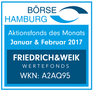 Börse Hamburg: Friedrich & Weik Wertefonds ist Aktionsfonds des Monats