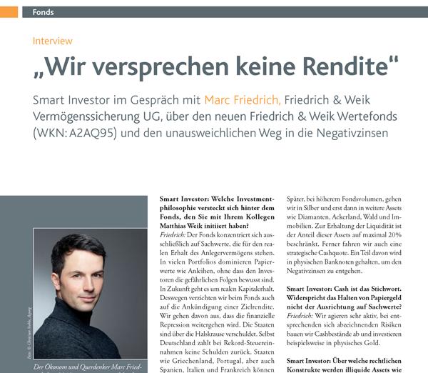 Smart Investor-Artikel zum Friedrich & Weik Wertefonds