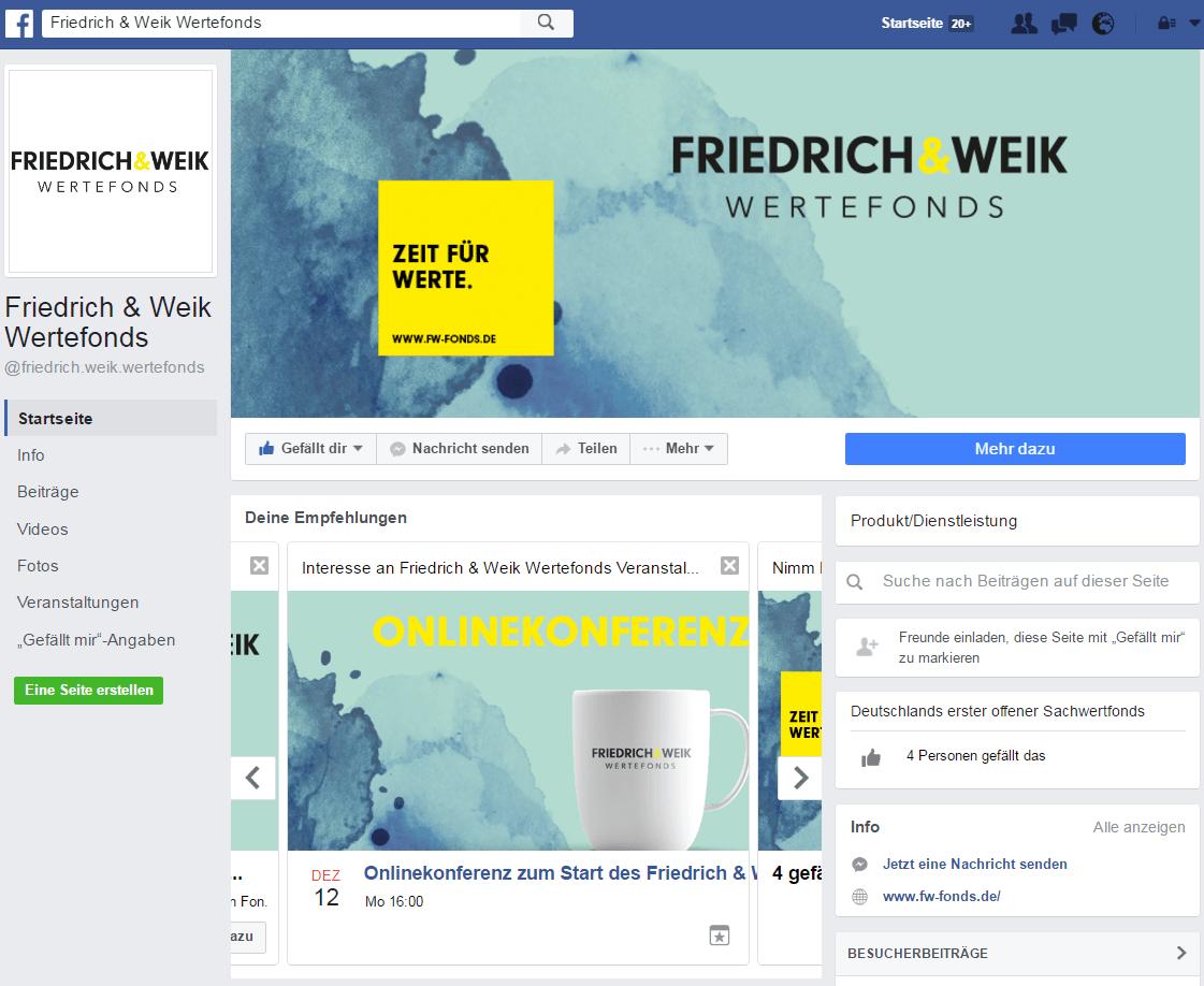 Facebookseite Friedrich & Weik Wertefonds