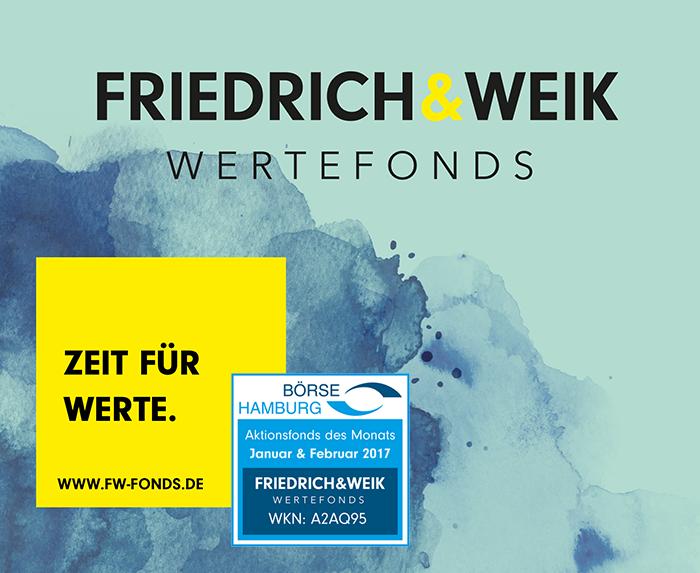 Friedrich & Weik Wertefonds ist Aktionsfonds des Monats Januar und Februar