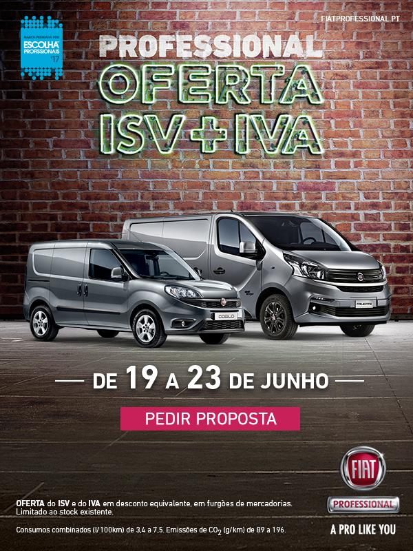Oferta do ISV + IVA de 19 a 23 de Junho na Fiat Professional