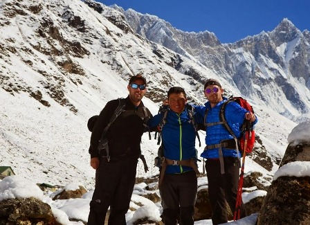 Guide Jangbu with Mark and Brad at Everest Base Camp