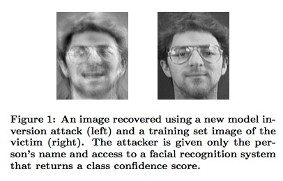 An image recovered via a model inversion attack