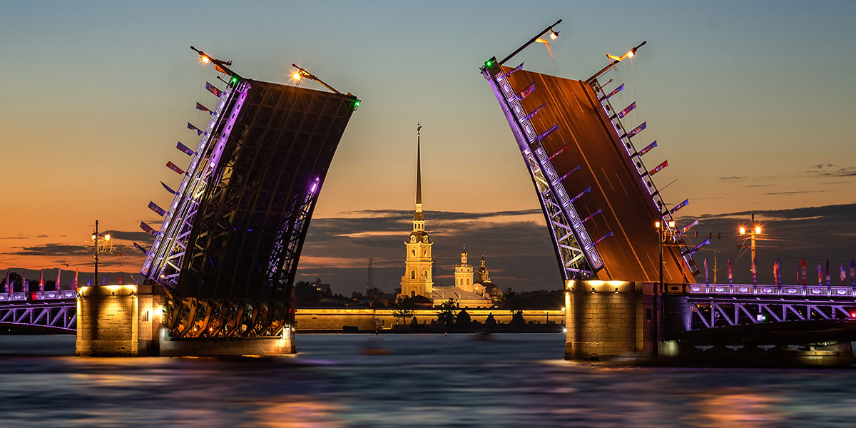 Bridge in St. Petersburg, Russia opens revealing church