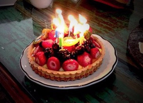 Picture of Pie with Candles taken by Vicki Bethel.