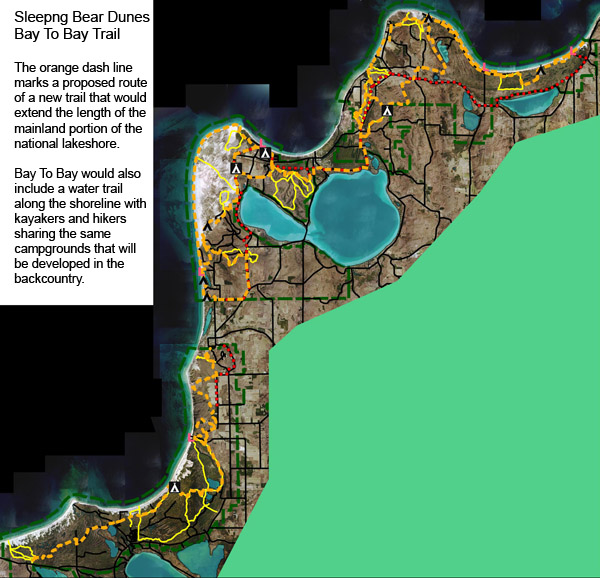 A map of the proposed Bay To Bay Trail.