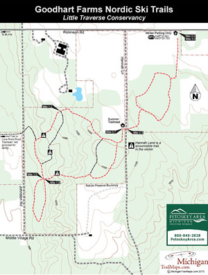 A Map of GoodHart Farms Ski Trails.