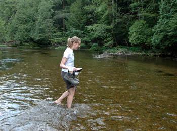 Hiker Fording River