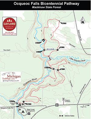 Ocqueoc Falls Trail Map.