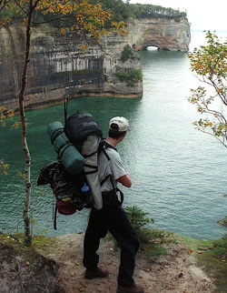 Backpacker on the Lakeshore Trail