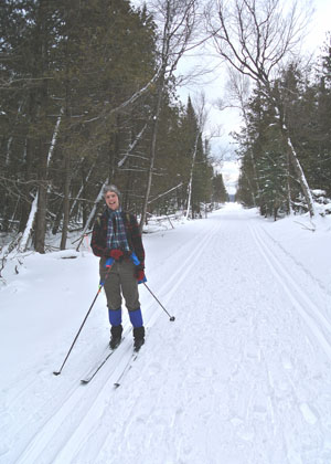 Nordic skier on the Sleeping Bear Heritage Trail.