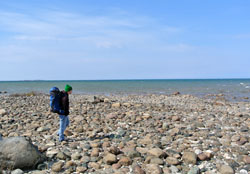 A backpacker at South Point in Negwegon State Park.